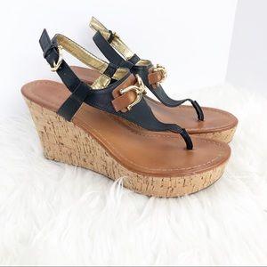 Tommy Hilfiger Myrtie2 black tan wedge cork sandal